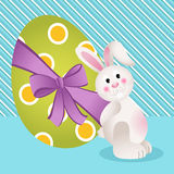 Cute bunny with Easter egg background Stock Images