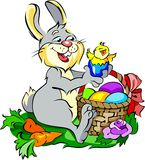 Cute bunny with Easter eggs and a chick Royalty Free Stock Photo