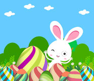 Cute Bunny Easter eggs Royalty Free Stock Photos