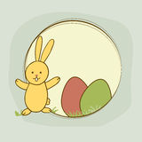 Cute bunny with eggs for Happy Easter celebration. Stock Photos