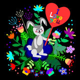 Cute bunny with floral background and plate with empty space for text. Royalty Free Stock Image