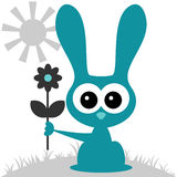 Cute bunny with a flower Stock Photos