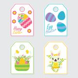 Cute bunny, flowers, and colorful egg vector cartoon illustration for Easter gift tags design. Postcard and sticker set Stock Photography