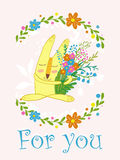 Cute bunny with flowers in a frame of flowers.Cute hand drawn animal characters for kids design.Mothers day greeting Stock Images