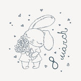 Cute bunny with flowers on March 8. Postcard for design, children`s and coloring books, prints. Royalty Free Stock Images