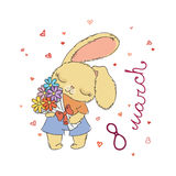 Cute bunny with flowers on March 8. Postcard for design, children`s and coloring books, prints. Stock Photos