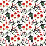 Cute bunny and flowers seamless pattern. Vector hand-drawn seamless texture with woman rabbits, flowers, branches witn berries. Royalty Free Stock Photo