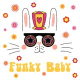 Cute bunny in funky hat and glasses. Hand drawn vector portrait of a cute funny cartoon bunny in funky hat and glasses, with typography. Isolated objects on Stock Images