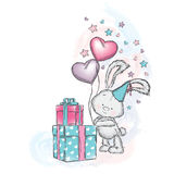 Cute bunny with gifts and balloons. Vector illustration for a card or poster. Print on clothes. Charming hare Stock Photography