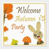 Cute bunny girl with Autumn elements vector cartoon illustration for Autumn greeting card design. Postcard, and wallpaper stock illustration