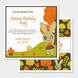Cute bunny girl on Autumn season vector cartoon illustration for birthday card design stock photos