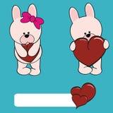 Cute bunny girl and boy cartoon Stock Images