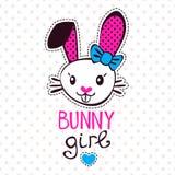 Cute bunny girl. Fancy girlish illustration, template for girls t-shirts design stock illustration