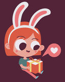 Cute Bunny Girl in Love Holding a Present Royalty Free Stock Image