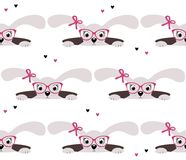 Cute bunny girl seamless pattern on white background Stock Photo