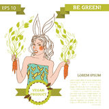 Cute bunny girl on white background, banner for vegetarian food Stock Image