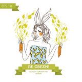 Cute bunny girl on white background, banner for vegetarian food Royalty Free Stock Image
