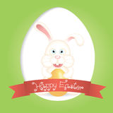 Cute bunny and Happy Easter label Royalty Free Stock Images