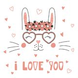 Cute bunny in heart shaped glasses Stock Photography