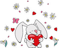 Cute bunny with heart Stock Images