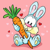 Cute bunny hold carrot Royalty Free Stock Photos