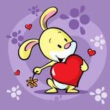 Cute bunny hold heart - vector Royalty Free Stock Photo