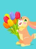 Cute bunny holding bouquet of tulip cartoon vector Stock Photo