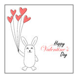Cute bunny holding heart balloons Royalty Free Stock Photo