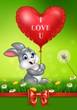 Cute bunny holding red heart balloons on green grass. Illustration of Cute bunny holding red heart balloons on green grass Royalty Free Stock Photos