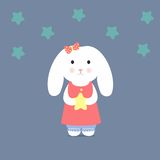 Cute Bunny holding a star. Stock  illustration Royalty Free Stock Photos