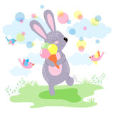 cute Bunny with ice cream. cute Bunny happy summer Royalty Free Stock Photography