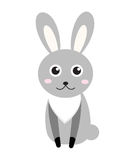Cute bunny icon, flat style.Rabbit  on white background. Vector illustration, clip-art. Royalty Free Stock Photography