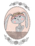 Cute bunny illustration for children. Hipster rabbit Royalty Free Stock Photography