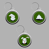 Cute bunny key-chains. In a set of three Stock Image