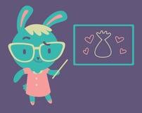 Cute Bunny Kindergarten Teacher Royalty Free Stock Images