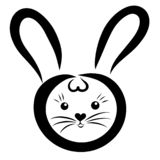 Cute bunny with long ears, black outline.  royalty free illustration
