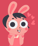 Cute Bunny in Love With Hands on Chin Stock Images