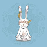 Cute bunny meditates. Cute bunny sitting in yoga lotus pose and relaxing vector illustration