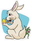 Cute Bunny Painting a Easter Egg, Vector Illustration Stock Photo