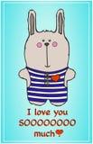 Cute bunny. postcard to a loved one. Cute bunny in vector. postcard to a loved one Royalty Free Stock Photos