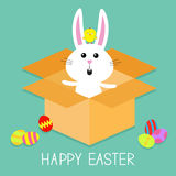 Cute bunny rabbit, chicken and eggs. Paper cardboard package gift box. Happy Easter. Flat design. Royalty Free Stock Photos