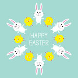 Cute bunny rabbit and chicken frame. Happy Easter. Flat design. Stock Images