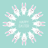 Cute bunny rabbit. Happy Easter.  Round frame. Flat design. Royalty Free Stock Photo