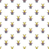 Cute bunny rabbit in magic hat pattern seamless Royalty Free Stock Photos