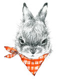 Cute Bunny. Rabbit pencil sketch illustration. T-shirt print with cute Bunny. Royalty Free Stock Image