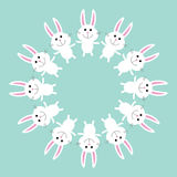 Cute bunny rabbit. Round frame. Flat design. Royalty Free Stock Photos