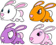 Cute Bunny Rabbit Set Stock Image