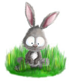 Cute bunny rabbit sitting in grass illustration Stock Images