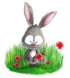 Cute bunny rabbit sitting in grass with red flowers illustration Royalty Free Stock Photography
