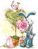 Cute bunny rabbit. Valentines day card. Stock Photos